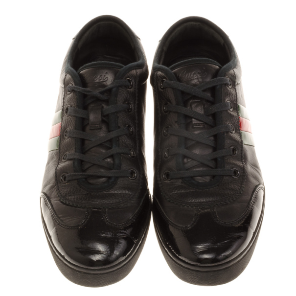 Gucci Black Leather Web Detail Sneakers Size 40