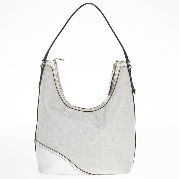 Gucci New Britt Silver Monogram Hobo
