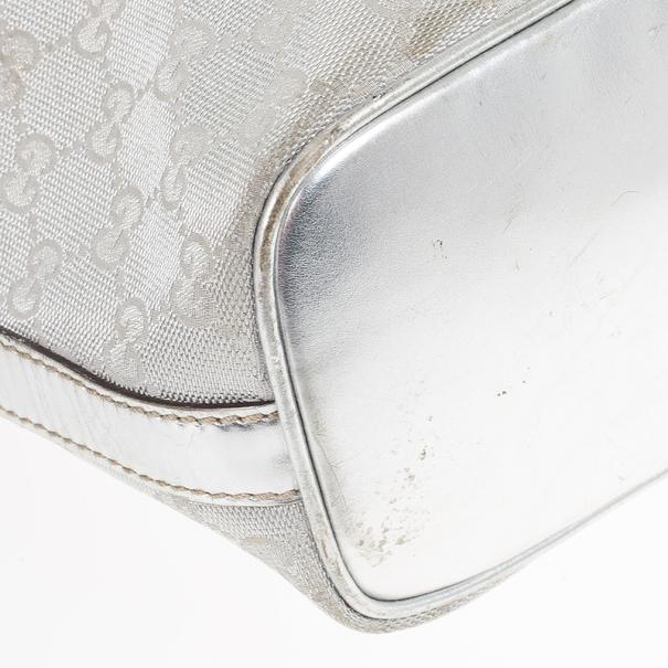 Gucci New Britt Silver Monogram Hobo