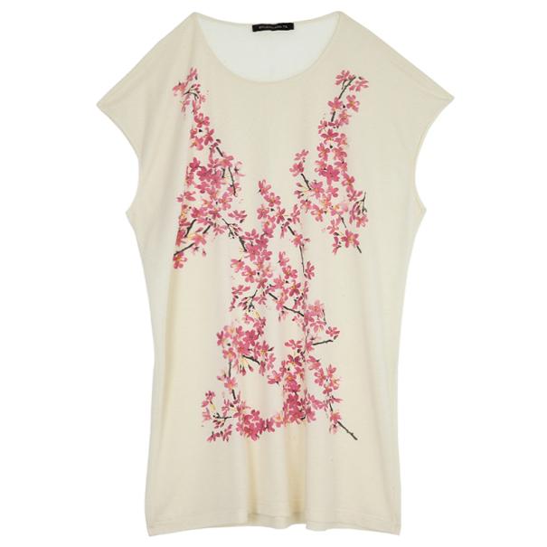 Balenciaga Crème Cherry Blossom Printed Sleeveless Top M
