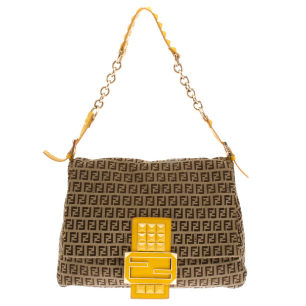 Fendi Mahogany And Yellow Zucchino 'Mamma' Studded Shoulder Bag