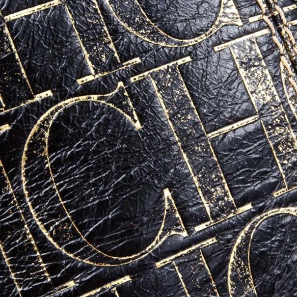 Carolina Herrera Small Black Monogram Chain Handle Tote