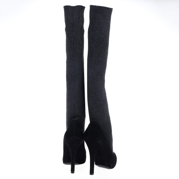 Dolce and Gabbana Black Sock Knee Boots Size 36