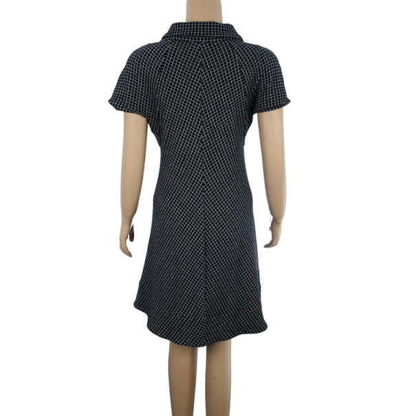 Balenciaga Monochrome Grid Print Dress M