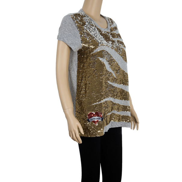 Roberto Cavalli Sequin Short Sleeve Top M