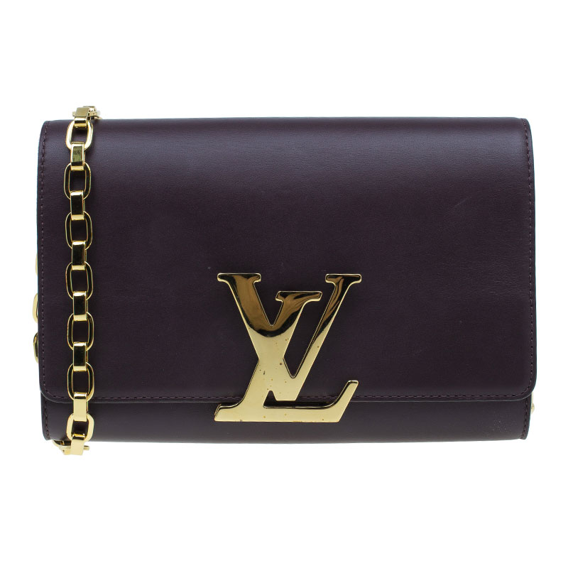 Louis Vuitton Purple Leather Chain Louise GM Clutch Bag