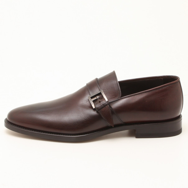 Fendi Brown Leather With Buckle Men Shoes Size 42.5