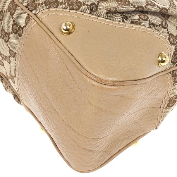 Gucci Beige GG Medium Jockey Hobo Bag