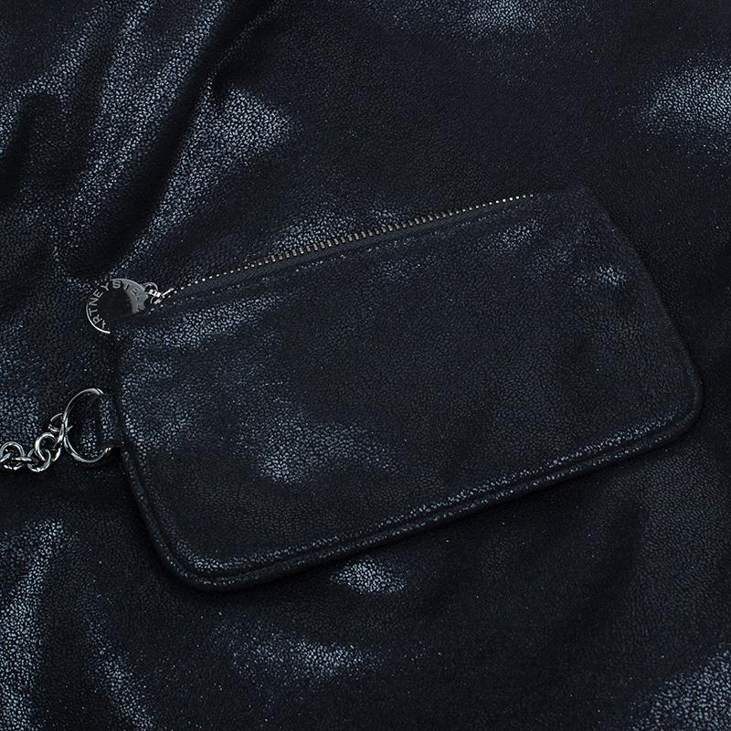Stella McCartney Black Faux Suede Falabella Shoulder Bag