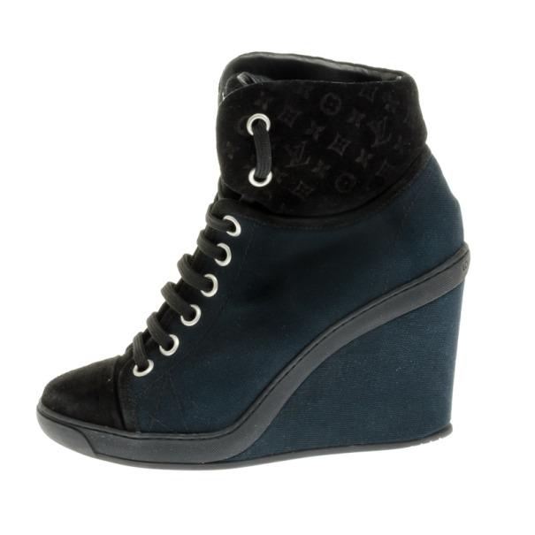 Louis Vuitton Black Batignolles Wedge High Top Sneakers Size 37