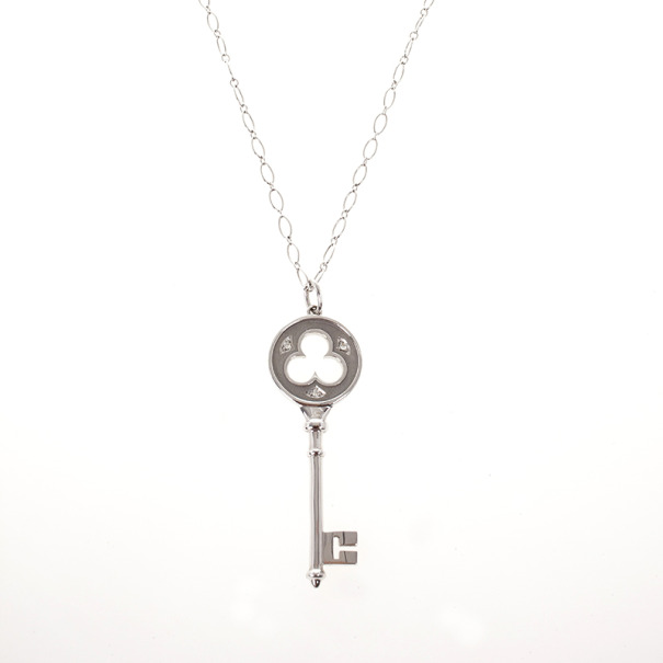 Tiffany & Co. 18 K White Gold Keys Clover Key Pendant