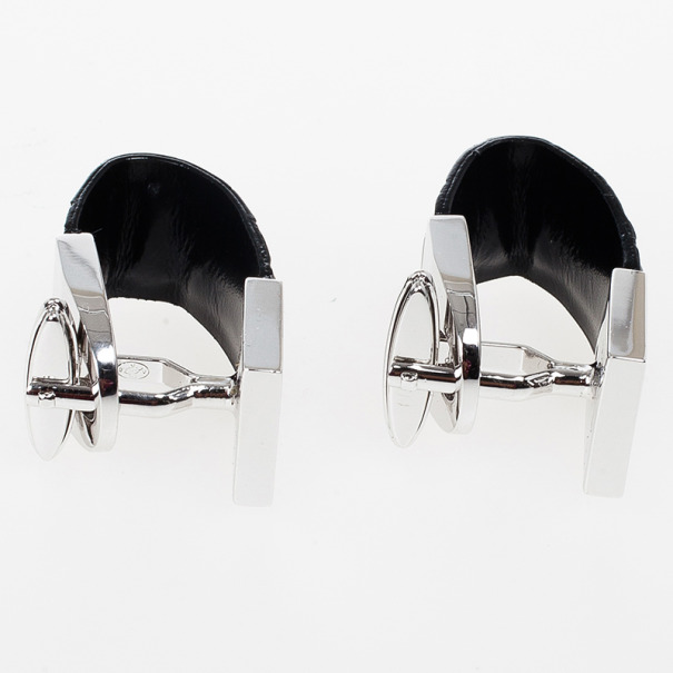 Alfred Dunhill Silver & Leather Cufflinks