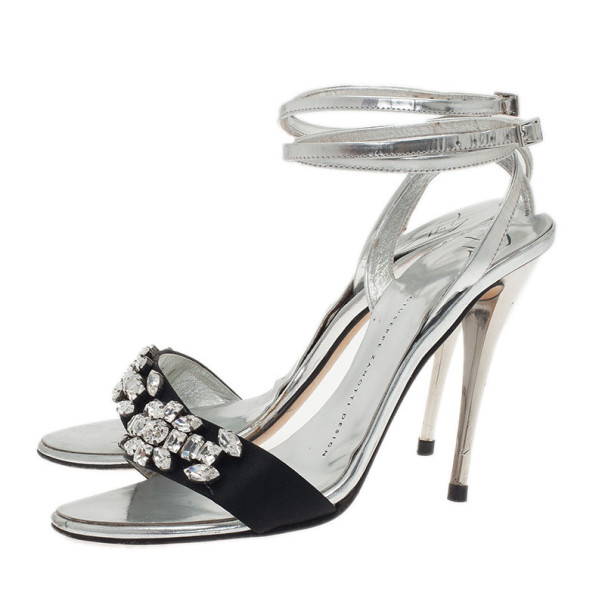 Giuseppe Zanotti Silver and Black Crystal Ankle Strap Sandals Size 37