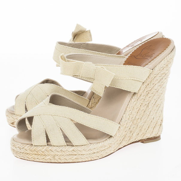 Christian Louboutin Delphin 120mm Espadrille Wedge Slides Size 36