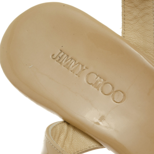 Jimmy Choo Nude Patent Panther Ankle Strap Cork Wedges Size 38