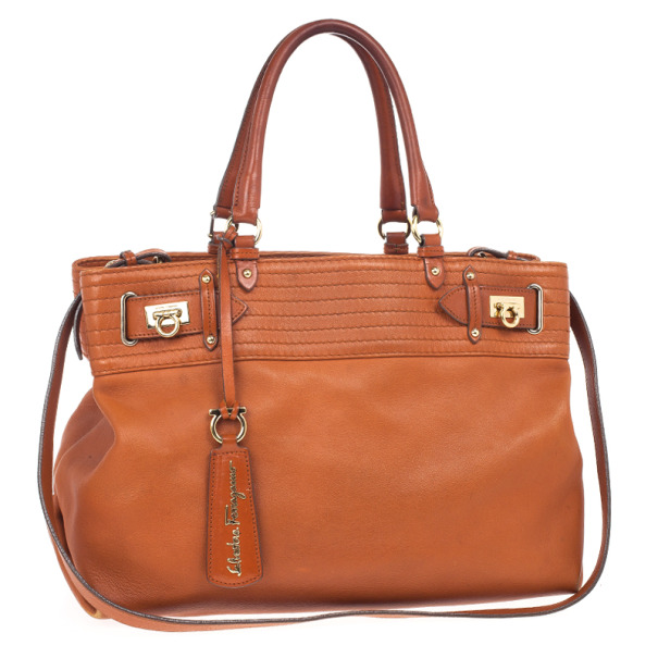 Salvatore Ferragamo Terracotta Leather Buckled Tote Bag