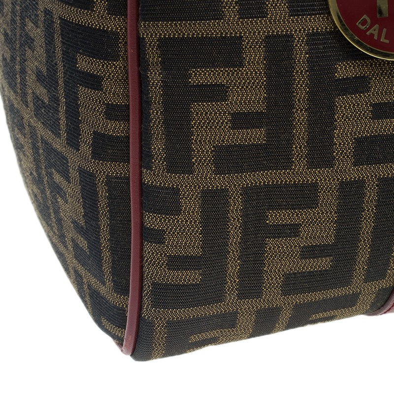 Fendi Red Canvas Zucca Jacquard Boston Bag