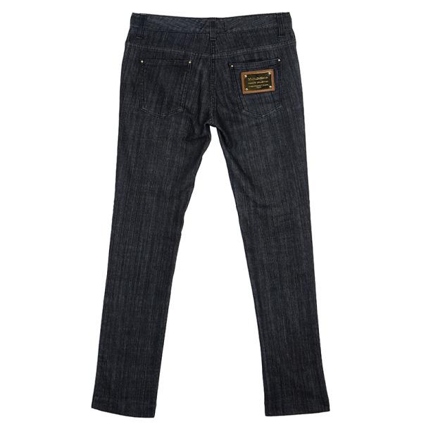 Dolce and Gabbana Denim Grey Black Straight Jeans S