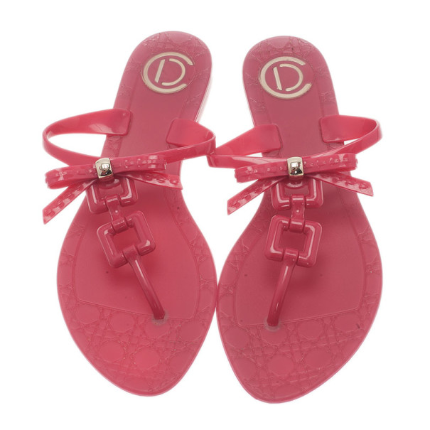 Dior Pink Jelly Thong Sandals Size 39