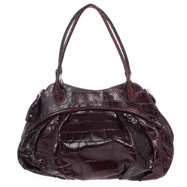 Furla Red Embossed Python Leather Clara Tote