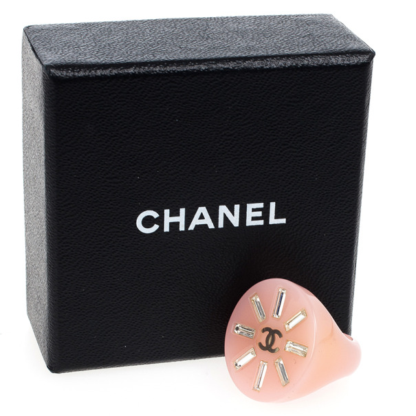 Chanel Crystal Pink Resin Ring Size 54