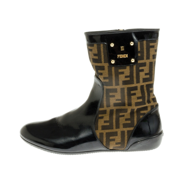 Fendi Tronchetto Zucca Flat Ankle Boots Size 39.5