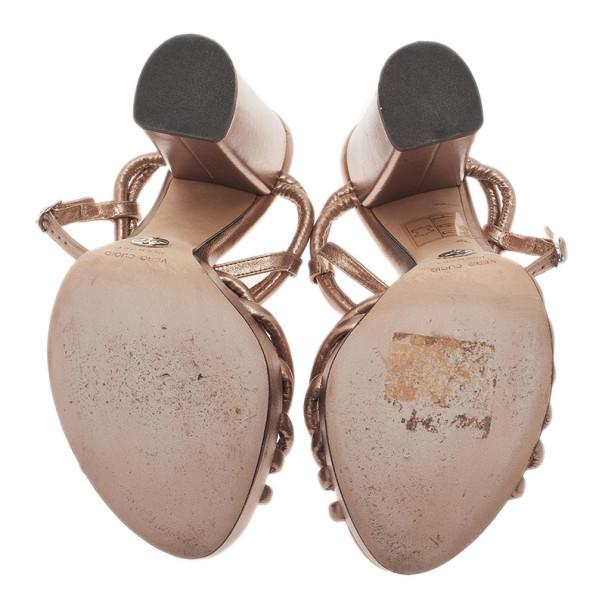 Dolce and Gabbana Bronze Leather Block Heel Platform Sandals Size 39