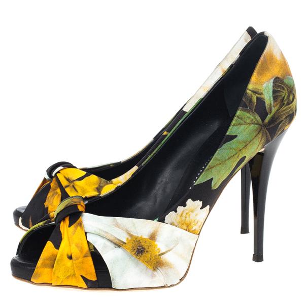 Giuseppe Zanotti Floral Silk Peep Toe Pumps Size 39