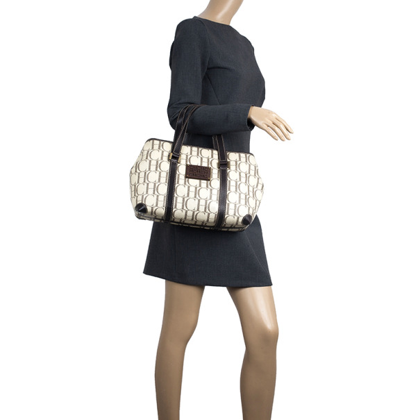 Carolina Herrera Monogram Coated Canvas Small Shopper Bag
