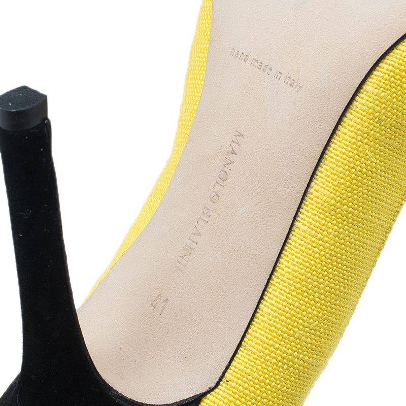 Manolo Blahnik Yellow Canvas Pointed Toe Pumps Size 41