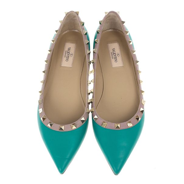 Valentino Turquoise Rockstud Ballet Flats Size 39