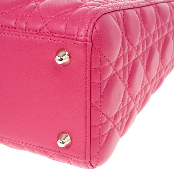 Dior Pink Lambskin Large Lady Dior
