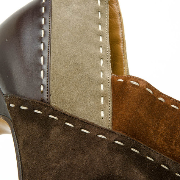 Salvatore Ferragamo Brown Suede Pointed Toe Ankle Boots Size 41