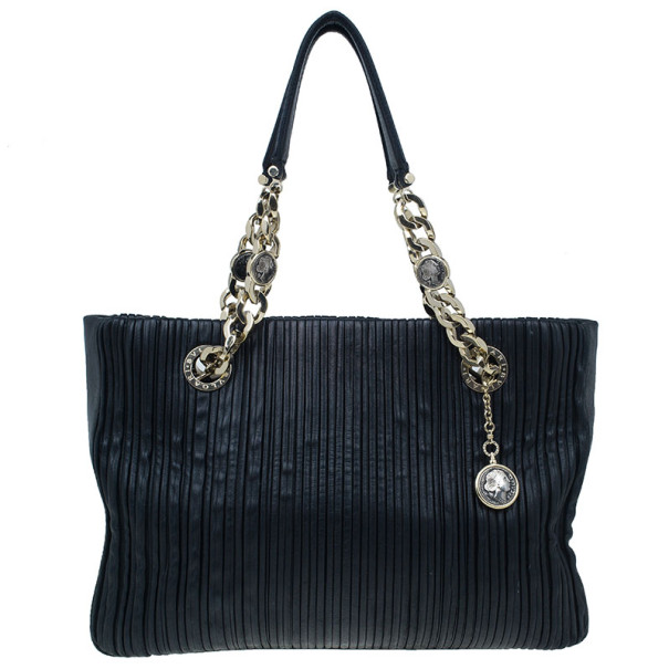 Bvlgari Black Nappa Leather Plisse Shopping Tote