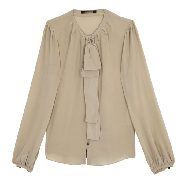 Roberto Cavalli Cream Silk Top Size L
