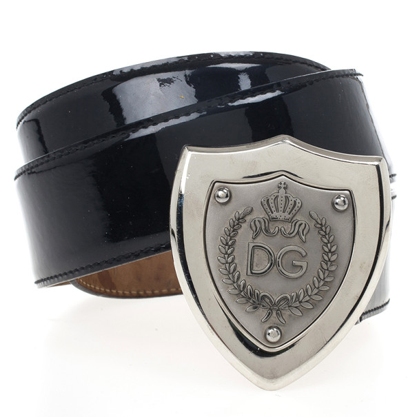 Dolce and Gabbana Black Patent Shield Buckle Belt 95 CM