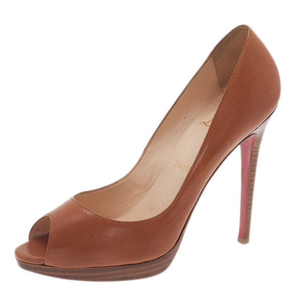 Christian Louboutin Brown Leather Yolanda Peep Toe Pumps Size 39