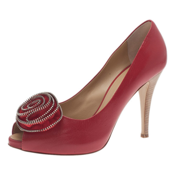 Giuseppe Zanotti Red Leather Rose Embellished Peep Toe Pumps Size 39