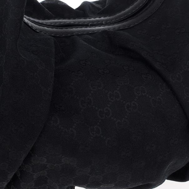 Gucci Black Monogram Canvas Large Jockey Hobo