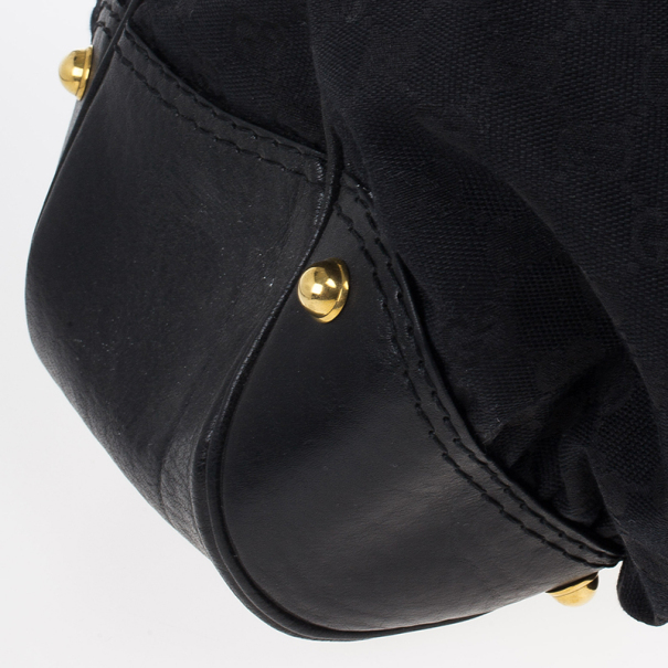 Gucci Black Monogram Canvas Large Jockey Hobo