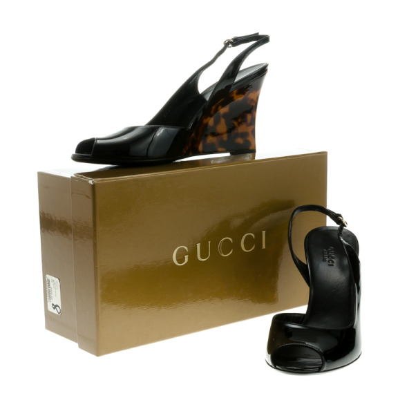 Gucci Black Patent Tortoise Slingback Wedges Size 40