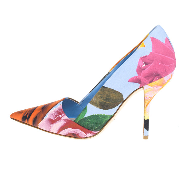 Dior Rose Print Pointed Toe Pumps Size 38.5