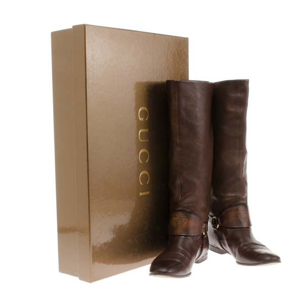 Gucci Brown Leather Riding Knee Boots Size 38