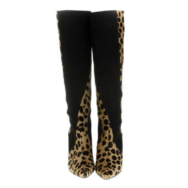 Dolce and Gabbana Pointed Toe Pony Hair Knee Length Boots Size 38