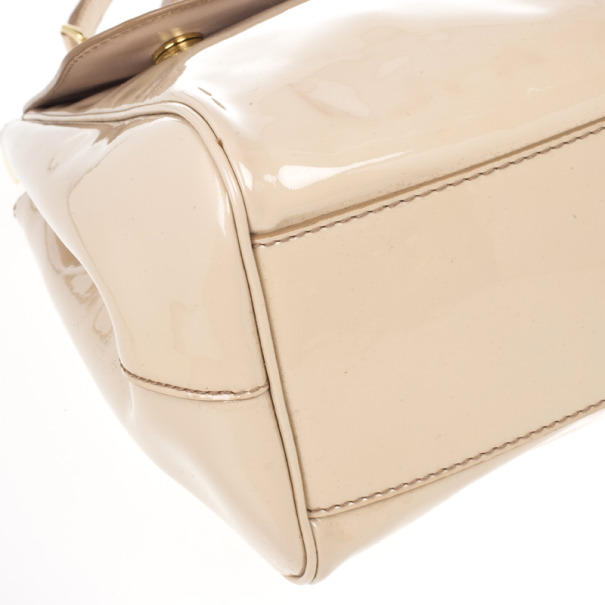 Dolce and Gabbana Beige Patent Leather Miss Sicily Top Handle Satchel
