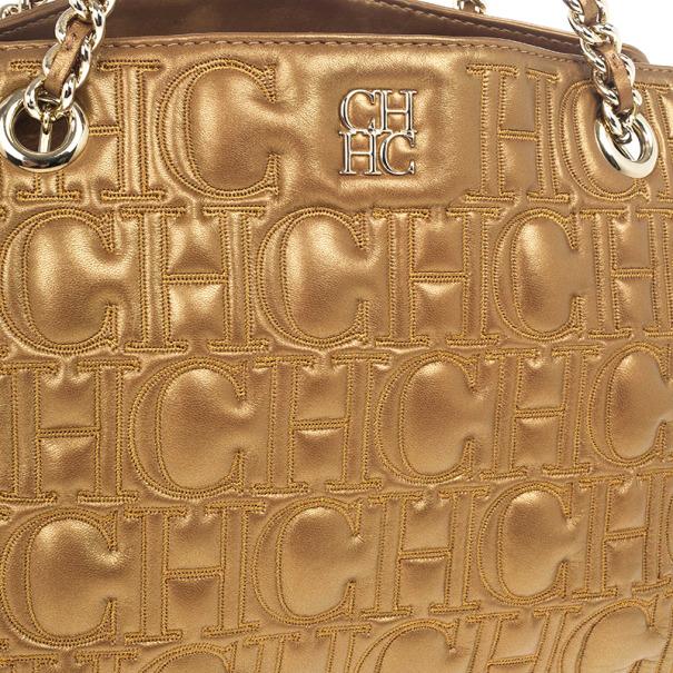 Carolina Herrera Monogram Embossed Chain Handle Tote