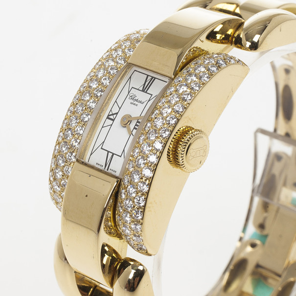 Chopard LaStrada 18 K Yellow Gold Diamond Womens Watch 23 MM
