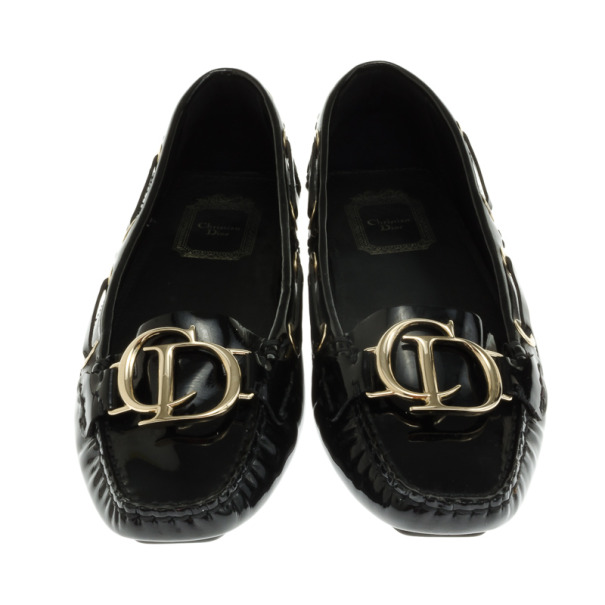 Christian Dior Black Patent Leather 'CD' Loafers Size 36