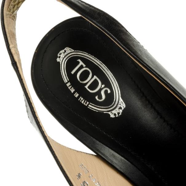 Tod's Black Leather Studded Tassel Bow Slingback Sandals Size 35.5