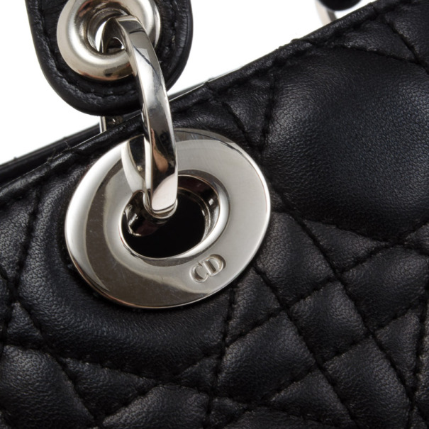 Christian Dior Black Lady Dior Soft Shopper
